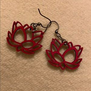 Red woodcut lotus earrings